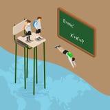 Tuffi nel mondo del vettore isometrico piano 3d dell'oceano di istruzione Fotografia Stock