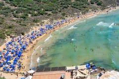 Tuffieha fjärd Sandy Beach, Malta Fotografering för Bildbyråer