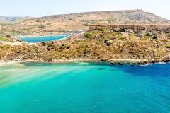 Tuffieha fjärdstrand, Malta Royaltyfri Fotografi