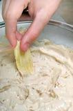 Tuffo della cipolla della patatina fritta Fotografia Stock