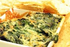 Tuffo di formaggio e degli spinaci Immagini Stock Libere da Diritti