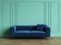 Tufted blue sofa in classic interior with copy space. Turquoise color walls with mouldings. Floor parquet herringbone.Digital Illustration.3d rendering Royalty Free Stock Photography