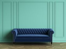 Tufted blue sofa in classic interior with copy space. Turquoise color walls with mouldings. Floor parquet herringbone.Digital Illustration.3d rendering Stock Image
