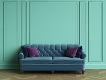 Tufted blue sofa in classic interior with copy space. Turquoise color walls with mouldings. Floor parquet herringbone.Digital Illustration.3d rendering Stock Photography