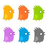 Tufted reeks van het vogels vlakke pictogram Grappig kuiken met mond open ge?soleerde, vectorillustratie vector illustratie