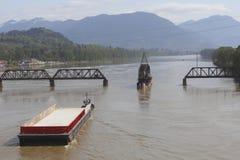 Tug, Barge and Swing Bridge Stock Image