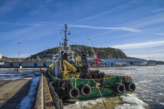 Tug boa sund on the quayside in halden Royalty Free Stock Photo