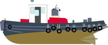 Tug Boat. Isolated drawing of a tug boat Royalty Free Stock Photos