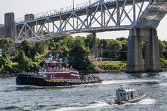 Tug Boat On The Cape Cod Canal Stock Photos