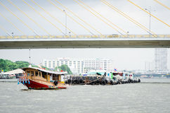 Tug boat drag sand barges in Chao Phraya River. ฺ Royalty Free Stock Photography