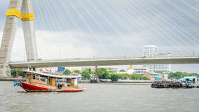 Tug boat drag sand barges in Chao Phraya River. ฺ Royalty Free Stock Images