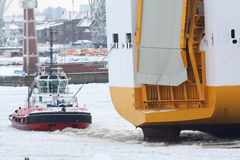 Tug Boat on frozen water Royalty Free Stock Photography