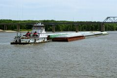 Tug boat and grain barge Stock Image