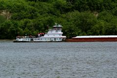 Tug boat and grain barge Royalty Free Stock Images