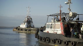 Tug boat of the port stock video footage