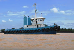 Tug Boat at Rejang River in Sarawak of Malaysia Stock Image