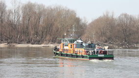 Tug Boat on River Turn Around stock footage