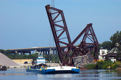 Tug Boat at RR Bridge Royalty Free Stock Photo