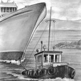 Tug Boat Towing Cruise Ship. A smaller boat pulling a much bigger passenger ocean liner Royalty Free Illustration