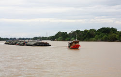 Tug boat transport. In the river Stock Images