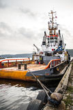 Tug boat Union Daimond - Antwerpen. Union Daimond is originally a tug boat from Antwerpen Belgium, but is now often used as a small unload/load boat and tug boat Royalty Free Stock Photos