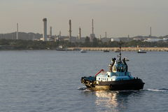 Tug boat on the water stock image