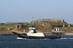 Tug boat working  on the North Sea Canal Royalty Free Stock Photo
