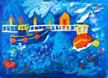 Tug Boats At Sea Acrylic Painting Stock Photos