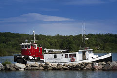 Tug Boats at Richards Landing Marina - St. Joseph Island, Ontario Stock Photo