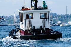 Small Tug on Seattle`s Elliott Bay Royalty Free Stock Image