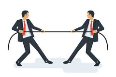 Tug concept. Two businessmen in suits pull the rope. Symbol of competition in business. Vector illustration flat design. Isolated on white background. Conflict Stock Photo