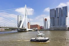 A tug has just passed the erasmus bridge with in the background the imposing buildings on the Holland Americakade. A tug has just passed the erasmus bridge with royalty free stock images