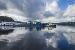 Tug herbert  towing eide barge Stock Photos