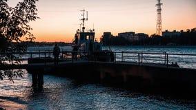 Tug On The Neva River stock footage