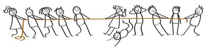 Free Tug Of War Between Groups Of Stick Figures, Men And Women Stock Image - 142619131
