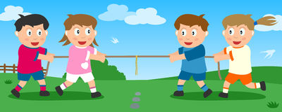 Tug Of War In The Park Royalty Free Stock Image