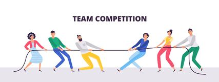 Free Tug Of War. People Teams Pull The Rope, Office Workers Compete And Rope Pulling Competition Flat Vector Illustration Stock Image - 153736371
