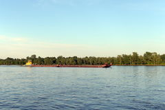 Tug-pusher `Ruslo` on the river Ob. Royalty Free Stock Images
