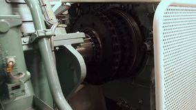 Tug`s AHTS Main Engine 3 000 HP. Flywheel stock video footage