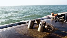 Tug`s pins hold the cable of pipe layer platform stock video footage