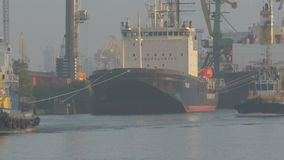 The tug sails into port by a cargo ship stock video