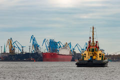Tug ship. In the cargo port of Riga, Europe royalty free stock photography
