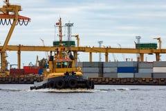 Tug ship. In the cargo port of Riga, Europe Stock Photos