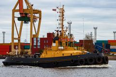 Tug ship. In the cargo port of Riga, Europe royalty free stock photos