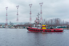 Tug ship floating in the channel connecting the lake to the Blac royalty free stock image