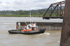 Tug and Swing Bridge Royalty Free Stock Photos