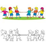 Tug of war. Boys and girls are playing tug of war vector illustration isolated on white background Stock Photography