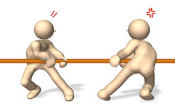 The tug of war. CG image representing the tug of war. This is a computer generated image,with white background Stock Photos