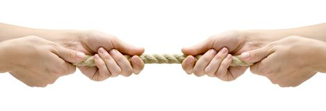Tug of War. Rope pulling. Isolated on a white background Royalty Free Stock Photos