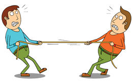 Tug of war. Two men in a tug of war competition Stock Image